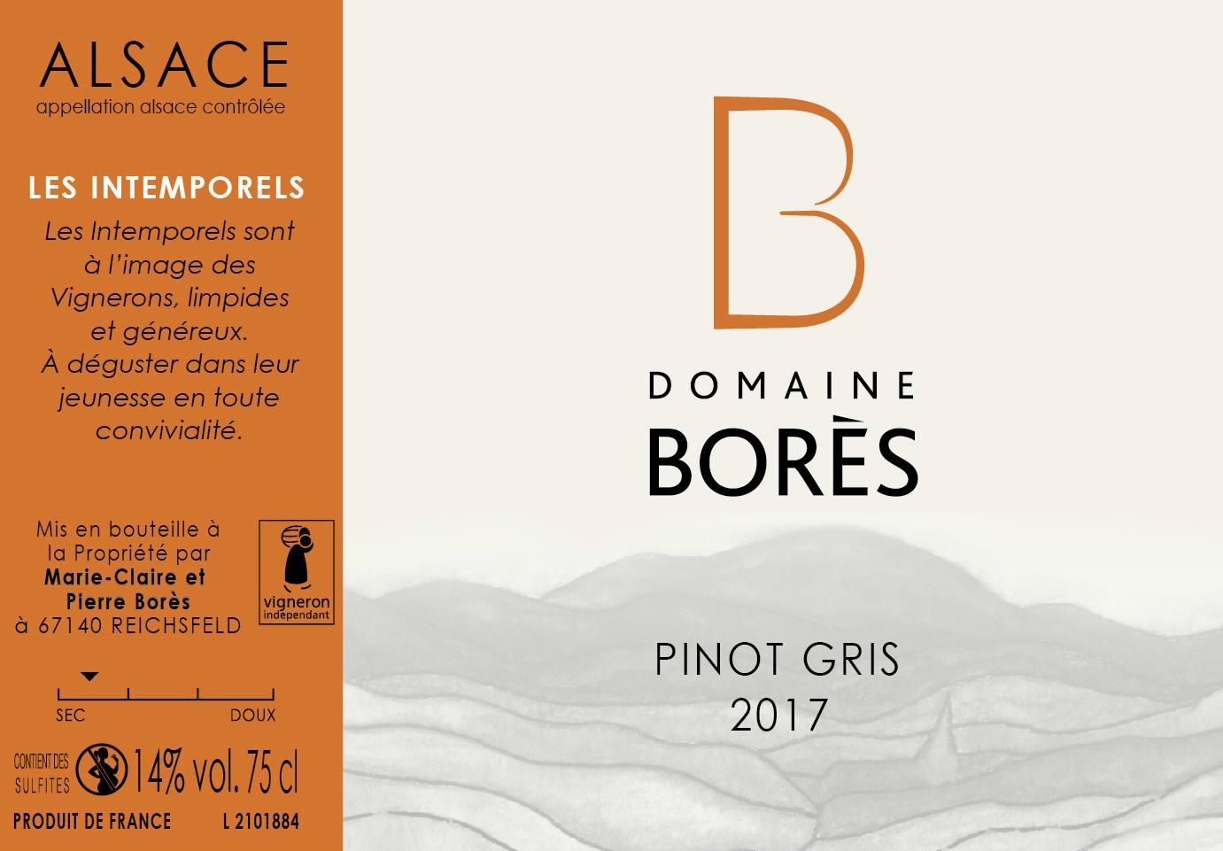 Étiquette vin Alsace Pinot Gris 2017 Domaine Borès