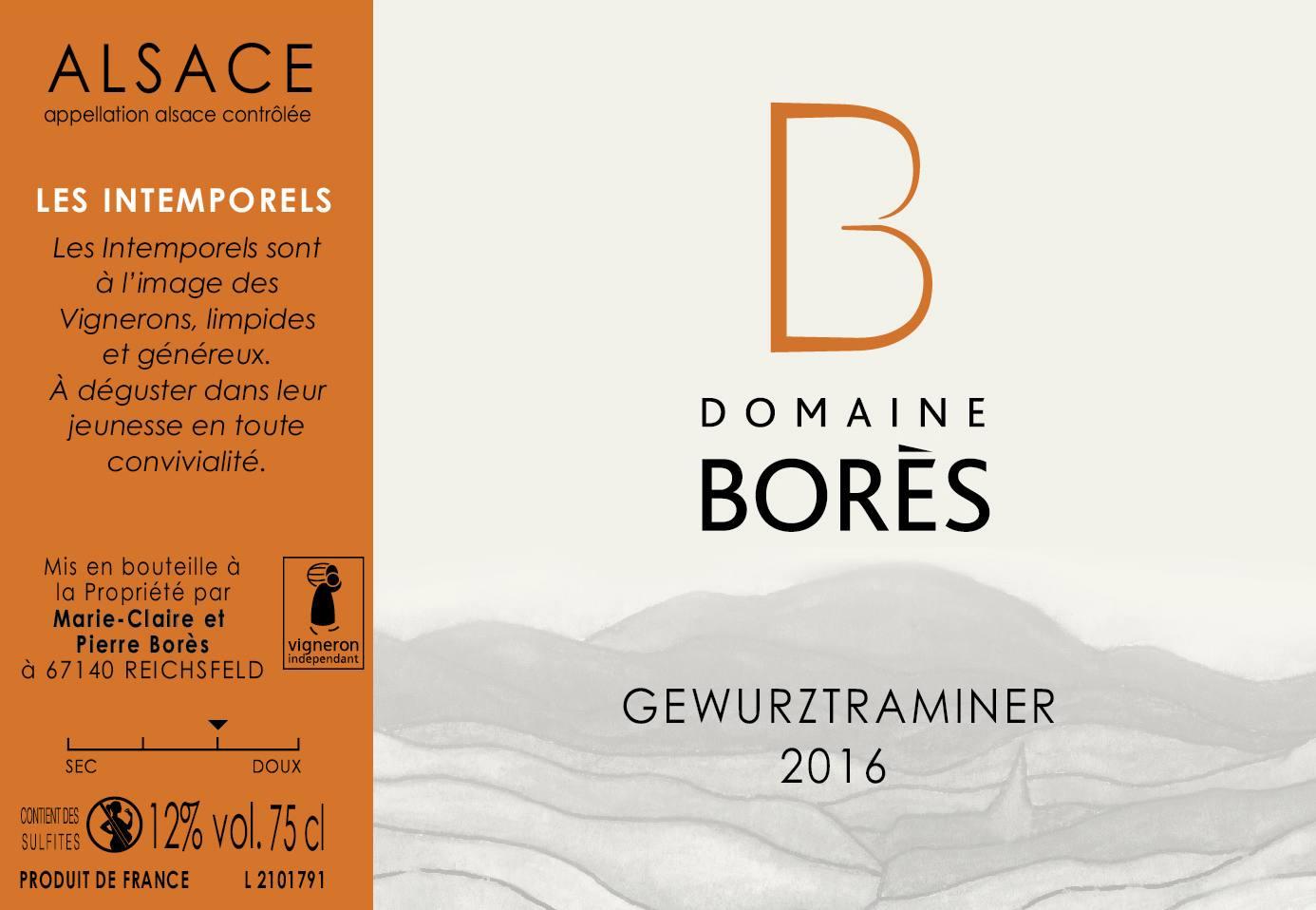 Etiquette vin alsace gewurztraminer 2016 Domaine Borès