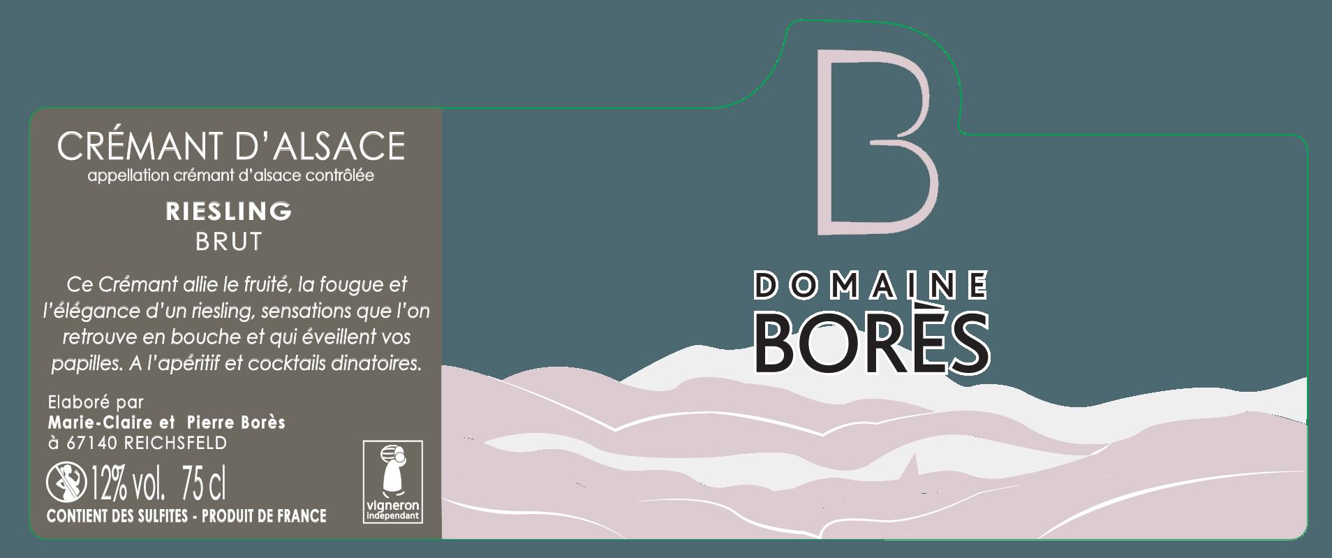 Étiquette crémant Alsace Riesling Brut domaine borès