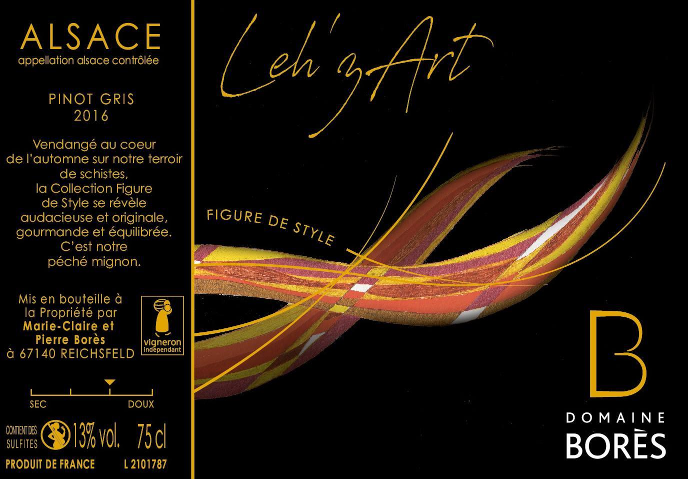 Étiquette vin Alsace Pinot Gris Lehzart Domaine Borès
