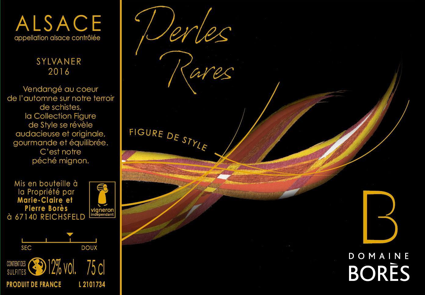 Étiquette vin Alsace Sylvaner Perles Rares 2016 domaine borès