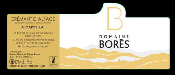 Étiquette Crémant d'Alsace A Cappella du Domaine Borès
