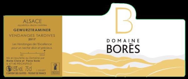 etiquette_Gewurztraminer Vin d'Alsace Vendanges Tardives Domaine Borès Reichsfeld