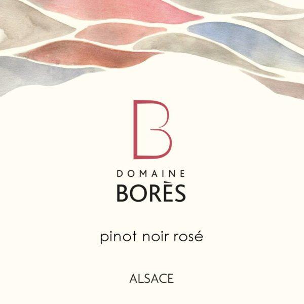 Etiquette Vin Alsace Pinot Noir Rosé Domaine Bores