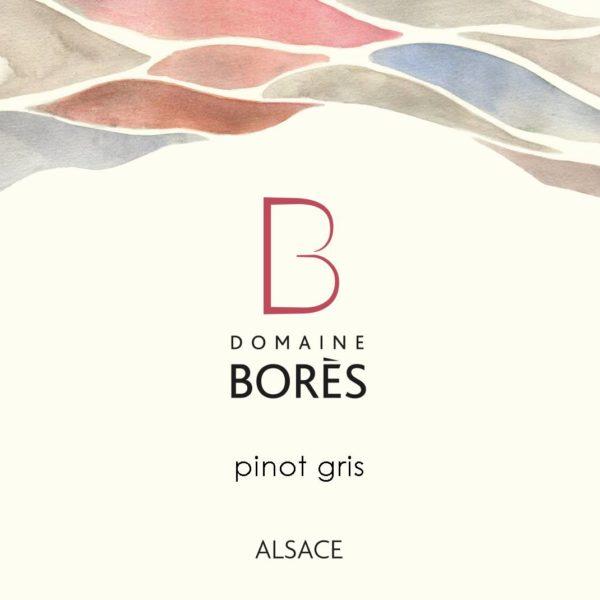 Etiquette Vin d'Alsace Pinot Gris 2017 Domaine Borès