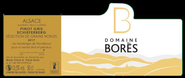 etiquette_pinot_gris_selection_de_grains_nobles_schieferberg_2017 Vin d'Alsace Domaine Borès Reichsfeld