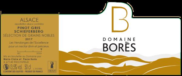 Étiquette vin Alsace Pinot Gris sélection Grain Noble 2017 Domaine Borès