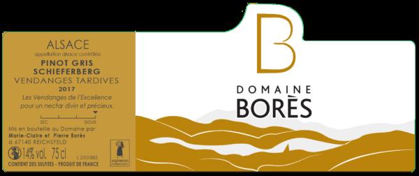Étiquette vin Alsace Pinot Gris Schieferberg Vendanges Tardives 2017 Domaine Borès