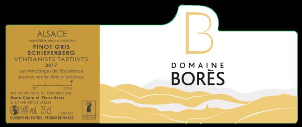 Étiquette vin d'Alsace Pinot Gris Schieferberg Vendanges Tardives 2017 du Domaine Borès