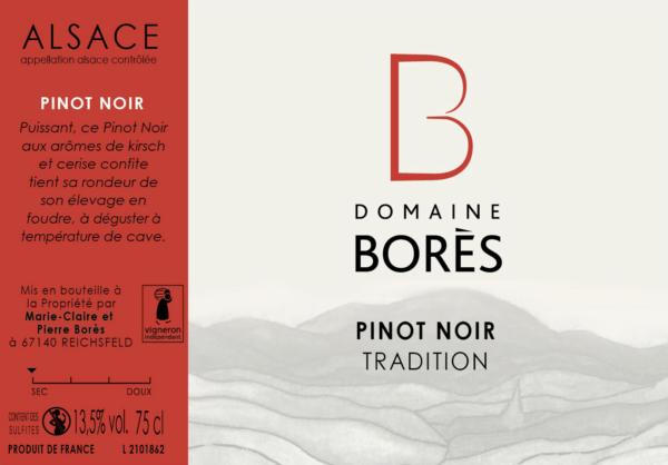 Étiquette vin Alsace Pinot Noir Tradition Domaine Borès