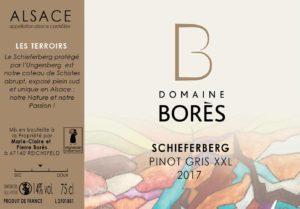 Étiquette Vin Alsace Pinot Gris XXL 2017 Domaine Borès