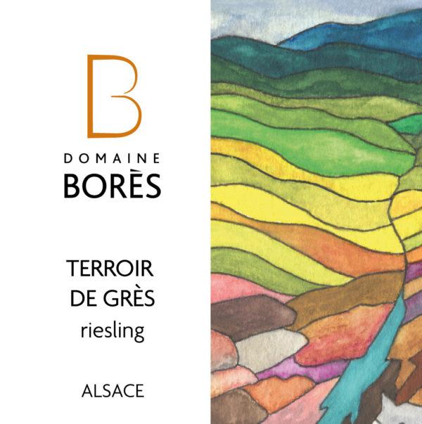 etiquette_riesling_terroir_de_gres_vieilles_vignes_Vin d'Alsace Domaine Borès Reichsfeld