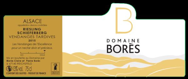 etiquette_riesling schieferberg vendanges tardives Vin d'Alsace Domaine Borès Reichsfeld