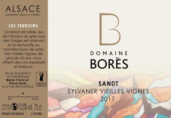 Étiquette Vin Alsace Sylvaner Sandt Vieilles Vignes 2017 Domaine Borès