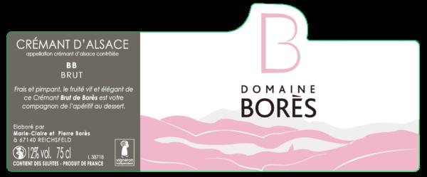 étiquette cremant_blanc_de_blancs_brut Vin d'Alsace Domaine Borès Reichsfeld