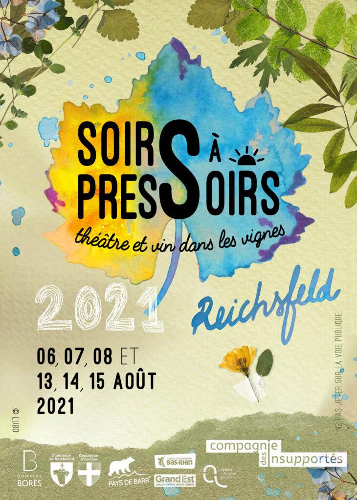 Theatre et vin dans les vignes Soirs à Pressoirs 2021 au Domaine Borès Reichsfeld Alsace avec Compagnie des Insupportes